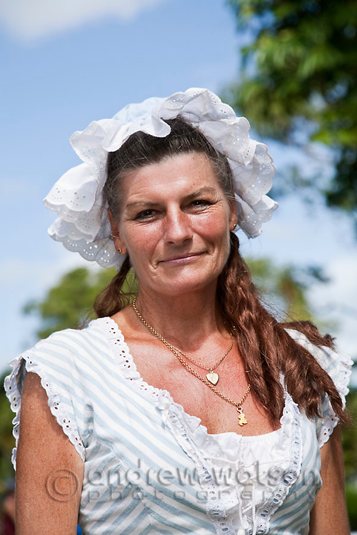 Woman in period costume during the Cooktown Discovery Festival ,which celebrates the landing of Captain James Cook in 1770.  Cooktown, Queensland, Australia