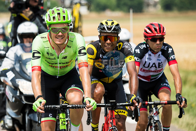 The breakaway group Dylan Van Baarle (NED) Cannondale Drapac, Manuele Mori (ITA) UAE Team Emirates and Yohann Gene (FRA) Direct Energie during Stage 7 of the 104th edition of the Tour de France 2017, running 213.5km from Troyes to Nuits-Saint-Georges, France. 7th July 2017.<br /> Picture: ASO/Alex Broadway | Cyclefile<br /> <br /> <br /> All photos usage must carry mandatory copyright credit (&copy; Cyclefile | ASO/Alex Broadway)