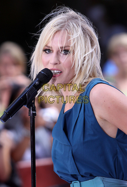 NATASHA BEDINGFIELD.Natasha Bedingfield performs live on NBC's TODAY Show, New York, NY, USA..August 21st, 2009.stage concert gig performance performing music half length blue sleeveless dress singing microphone messy hair .CAP/ADM/PZ.©Paul Zimmerman/AdMedia/Capital Pictures.