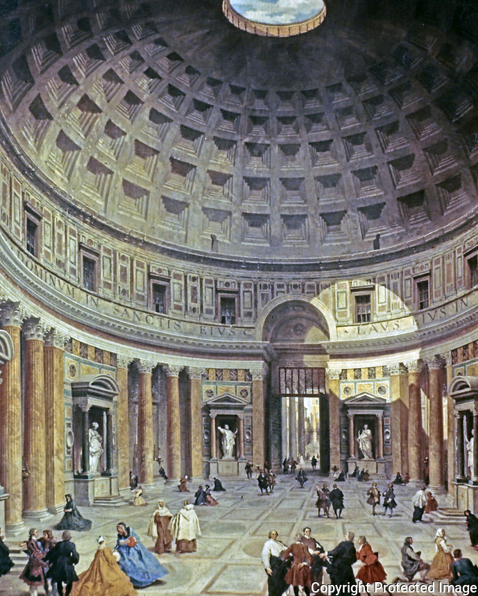Painting on the interior of the Pantheon, Rome, Italy