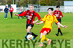 Avenue Utd's Philip Talty and Park's Aaron Ward at the   U17 FAI Cup Park FC v Avenue Utd in Christy Leahy Park on Saturday