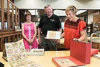 H. Barry Holt '73 and Lucy V. Holt donate a collection of rare books on Latin America to Special Collections on Sept. 29, 2015. The Holts also meet with history professor Lisa Sousa, who is an expert on colonial Latin America, indigenous peoples of Mexico and women's history.<br /> Dale Stieber, Special Collections Librarian and College Archivist and Helena de Lemos, Rare Books and Book Arts Librarian also meet with the Holts.<br /> (Photo by Marc Campos, Occidental College Photographer)