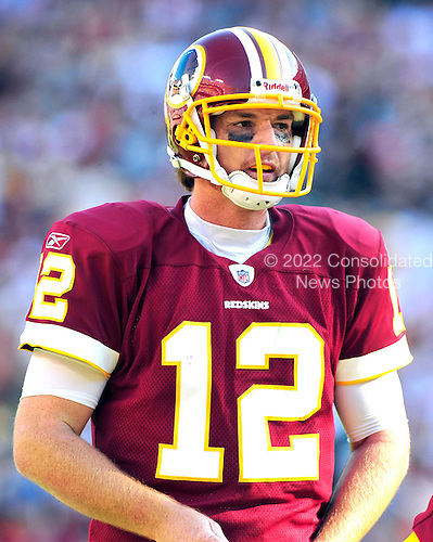 Washington Redskins quarterback John Beck (12) looks over the defense in the fourth quarter against the Philadelphia Eagles at FedEx Field in Landover, Maryland on Sunday, October 16, 2011.  The Eagles won the game 20 - 13..Credit: Ron Sachs / CNP