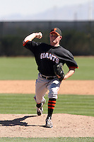 Shawn Sanford #34 of the San Francisco Giants plays in a minor league spring training game against the Oakland Athletics at the Athletics minor league complex on March 31, 2011  in Phoenix, Arizona. .Photo by:  Bill Mitchell/Four Seam Images.