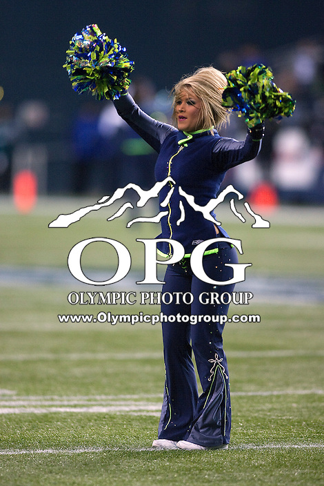 Dec 1, 2011: Seattle Seahawks cheerleaders entertained the crowed during the game against Philadelphia.  Seattle defeated Philadelphia 31-14 at Century Link Field in Seattle, Washington.