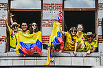 Colombian fans get everywhere as Binche welcomes the Tour before Stage 3 of the 2019 Tour de France running 215km from Binche, Belgium to Epernay, France. 8th July 2019.<br /> Picture: ASO/Pauline Ballet | Cyclefile<br /> All photos usage must carry mandatory copyright credit (© Cyclefile | ASO/Pauline Ballet)