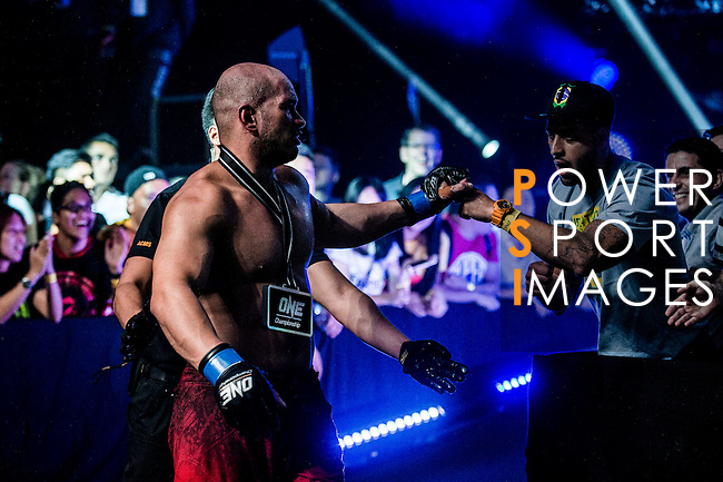 Alexandre Machado of Brazil celebrates after winning Alain Ngalani of Hong Kong on 13 August 2016 at The Venetian Macao Cotai Arena in Macau, China. Photo by Marcio Machado / Power Sport Images