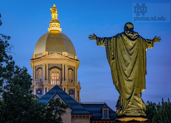 July 27, 2016; Dome and Main Quad Jesus statue (Photo by Matt Cashore/University of Notre Dame)