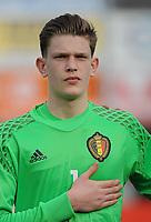20170314 - UDEN , NETHERLANDS : Belgian Arno Valkenaers pictured during the UEFA Under 17 Elite round game between The Netherlands U17 and Belgium U17, on the first matchday in group 5 of the Uefa Under 17 elite round in The Netherlands , tuesday 14 th March 2017 . PHOTO SPORTPIX.BE | DIRK VUYLSTEKE