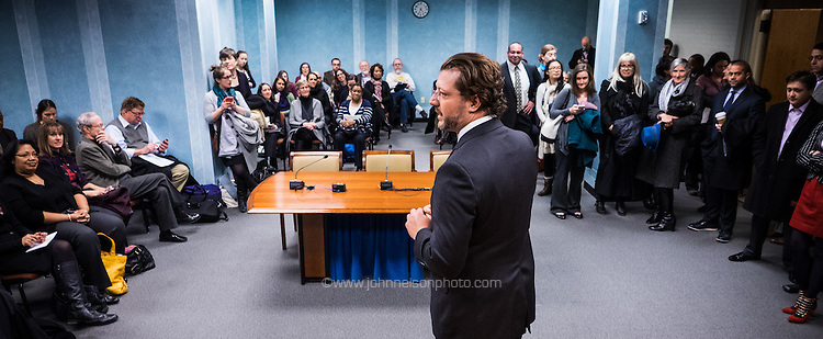Council member David Grosso welcomes visitors to the Committee on Education open house at the John A. Wilson Building in Washington, DC. <br />