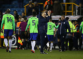 9th February 2018, The Den, London, England; EFL Championship football, Millwall versus Cardiff City; Cardiff City manager Neil Warnock applauding the Cardiff City fans after the final whistle