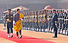 """KING AND QUEEN OF BHUTAN VISIT INDIA.The King of Bhutan, His Majesty Jigme Khesar Namgyel Wangchuck inspecting the Guard of Honour during the Ceremonial Reception at Rashtrapati Bhavan, New Delhi _25/01/2013. .King Wangchuk who was accompanied by Queen Jetsun Pema Wangchuck was the Chief Guest at the Indian Republic Day celebrations..Mandatory Photo Credit: ©Meena/Newspix International..**ALL FEES PAYABLE TO: """"NEWSPIX INTERNATIONAL""""**..PHOTO CREDIT MANDATORY!!: NEWSPIX INTERNATIONAL(Failure to credit will incur a surcharge of 100% of reproduction fees)..IMMEDIATE CONFIRMATION OF USAGE REQUIRED:.Newspix International, 31 Chinnery Hill, Bishop's Stortford, ENGLAND CM23 3PS.Tel:+441279 324672  ; Fax: +441279656877.Mobile:  0777568 1153.e-mail: info@newspixinternational.co.uk"""