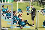 09.01.2019, Trainingsgelaende Randburg Football Club, Johannesburg, RSA, TL Werder Bremen Johannesburg Tag 07<br /> <br /> im Bild / picture shows <br /> <br /> Florian Kohfeldt (Trainer SV Werder Bremen) <br /> Jiri Pavlenka (Werder Bremen #01)<br /> Kraftsport am Morgen vor dem Training in Sueddafrika <br /> <br /> Foto © nordphoto / Kokenge
