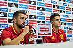 David Villa and Marc Bartra during the press conference of the spanish national football team in the city of football of Las Rozas in Madrid, Spain. August 28, 2017. (ALTERPHOTOS/Rodrigo Jimenez)