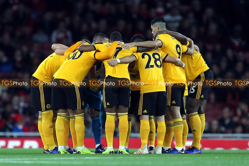 Wolves huddle before Arsenal vs Wolverhampton Wanderers, Premier League Football at the Emirates Stadium on 11th November 2018
