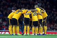 Wolves huddle before Arsenal vs Wolverhampton Wanderers, Premier League Football at the Emirates Stadium on 11th November 2018