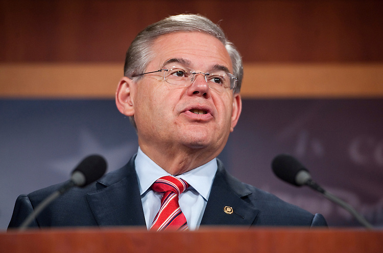 UNITED STATES - JULY 14: Sen. Bob Menendez, D-N.J., speaks during a news conference with NY and NJ Senators on Wednesday, July 14, 2010, to speak out about possible BP involvement in the release of Lockerbie bomber Abdel Rasset al Megrahi. (Photo By Bill Clark/Roll Call via Getty Images)