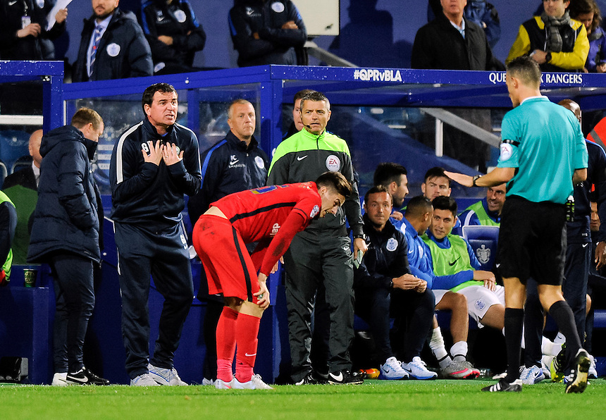 Blackburn Rovers manager Gary Bowyer angered after a tackle on Tom Lawrence <br /> <br /> Photographer Ashley Western/CameraSport<br /> <br /> Football - The Football League Sky Bet Championship - Queens Park Rangers v Blackburn Rovers - Wednesday 16th September 2015 - Loftus Road - London <br /> <br /> &copy; CameraSport - 43 Linden Ave. Countesthorpe. Leicester. England. LE8 5PG - Tel: +44 (0) 116 277 4147 - admin@camerasport.com - www.camerasport.com
