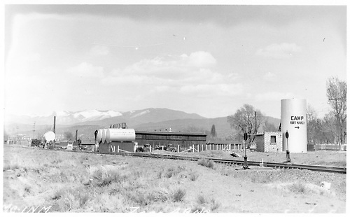 View towards depot &quot;draw&quot; connection of the New Mexico Central / Denver &amp; Rio Grande joint yard track from the corner of Hickox and Guadalupe Streets in Santa Fe.<br /> NMC / D&amp;RG  Santa Fe, NM  circa 1928<br /> This image is from &quot;Santa Fe Railway Company Collection&quot; in the Museum of New Mexico Neg. No. 92236.<br /> Additional info from VG 9/21/2007.