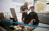 Jarlinson Pantano (COL/IAM) at the barber in the Village D&eacute;part before the stage<br /> <br /> Stage 20: Meg&egrave;ve &rsaquo; Morzine (146.5km)<br /> 103rd Tour de France 2016