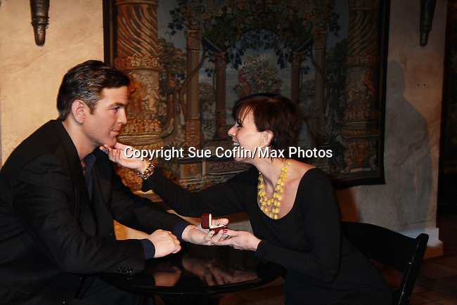 "As The World Turns' Colleen Zenk stars in Marrying George Clooney: Confessions from a Midlife Crisis and poses with ""George Clooney"" on February 16, 2012 at Madame Tussauds Wax Museum, New York City, New York.  (Photo by Sue Coflin/Max Photos)"