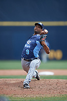 West Michigan Whitecaps relief pitcher Johan Belisario (9) delivers a pitch during a game against the Quad Cities River Bandits on July 23, 2018 at Modern Woodmen Park in Davenport, Iowa.  Quad Cities defeated West Michigan 7-4.  (Mike Janes/Four Seam Images)