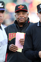 Rochester Red Wings Coach Floyd Rayford during a game vs. the Louisville Bats Friday, May 14, 2010 at Frontier Field in Rochester, New York.   Rochester defeated Louisville by the score of 13-4.  Photo By Mike Janes/Four Seam Images