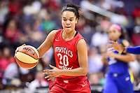 Washington, DC - August 12, 2018: Washington Mystics All-Star guard Kristi Toliver (20) with the ball during game between the Washington Mystics and the Dallas Wings at the Capital One Arena in Washington, DC. (Photo by Phil Peters/Media Images International)