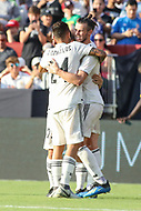 Landover, MD - August 4, 2018: Real Madrid celebrates after a goal during the match between Juventus and Real Madrid at FedEx Field in Landover, MD.   (Photo by Elliott Brown/Media Images International)