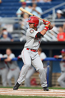 Auburn Doubledays first baseman Jose Marmolejos-Diaz (14) at bat during a game against the Batavia Muckdogs on August 31, 2014 at Dwyer Stadium in Batavia, New York.  Batavia defeated Auburn 7-6.  (Mike Janes/Four Seam Images)
