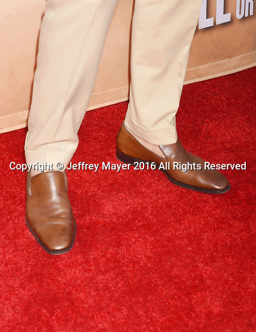 HOLLYWOOD, CA - AUGUST 10: Actor Chris Pine, shoe detail, at the screening of CBS Films' 'Hell Or High Water' at ArcLight Hollywood on August 10, 2016 in Hollywood, California.