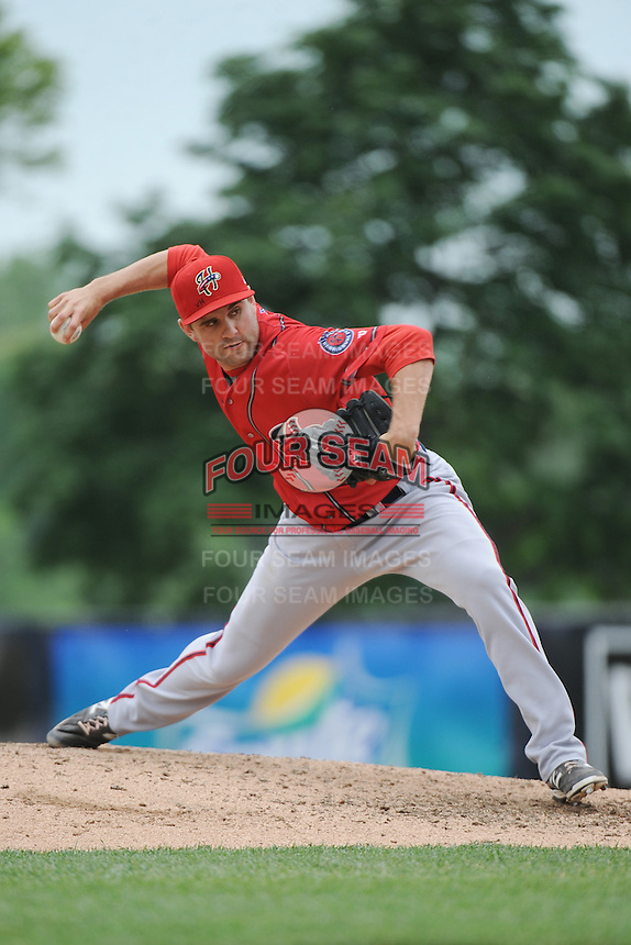 Harrisburg Senators pitcher Neil Holland (25) during the game against the Trenton Thunder at ARM & HAMMER Park on May 21, 2014 in Trenton, New Jersey.  Harrisburg defeated Trenton 9-0.  (Tomasso DeRosa/Four Seam Images)