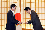July 23, 2018, Tokyo, Japan - Japanese actor Ryotaro Sugi (R) is appointed to the special goodwill ambassador to Vietnam and ASEAN by Foreign Minister Taro Kono (L) at Kono's office in Tokyo on Monday, July 23, 2018. Sugi will promote the second Japan-ASEAN musical festival in Tokyo in October ro celebrate the 45th anniversary of friendship between Japan and ASEAN.      (Photo by Yoshio Tsunoda/AFLO) LWX -ytd-