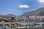 Los Cristianos harbour beach and town. Los Cristianos,Tenerife, Canary Islands. Spain.