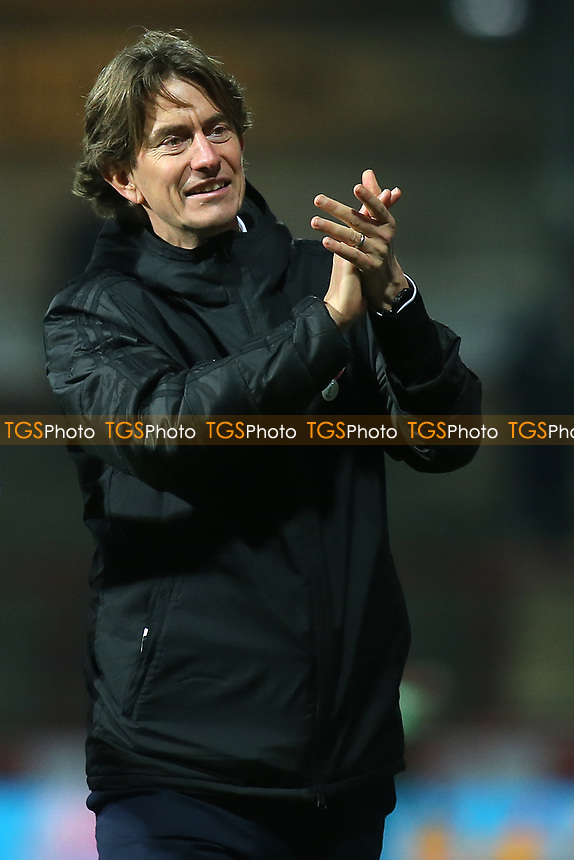 Brentford Manager, Thomas Frank, applauds the home fans at the end of the match during Brentford vs Oxford United, Emirates FA Cup Football at Griffin Park on 5th January 2019