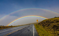 A double rainbow over Haleakala Highway, Maui.