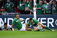 Rob Kearney of Ireland scores a try in the second half. Rugby World Cup Pool D match between Ireland and Romania on September 27, 2015 at Wembley Stadium in London, England. Photo by: Patrick Khachfe / Onside Images