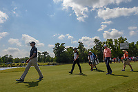 Matt Kuchar (USA), Henrik Stenson (SWE) and Justin Rose (GBR) head down 18 during Round 2 of the Zurich Classic of New Orl, TPC Louisiana, Avondale, Louisiana, USA. 4/27/2018.<br /> Picture: Golffile | Ken Murray<br /> <br /> <br /> All photo usage must carry mandatory copyright credit (&copy; Golffile | Ken Murray)