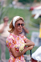 Judy Rankin in action at the Carlton, a golf tournament on the LPGA Tour played at the Calabasas Country Club, Calabasas, California, September 1976. Photo by John G. Zimmerman.