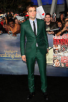 LOS ANGELES, CA - NOVEMBER 12: Robert Pattinson at the premiere of 'The Twilight Saga: Breaking Dawn - Part 2' at Nokia Theater L.A. Live on November 12, 2012 in Los Angeles, California.  Credit: MediaPunch Inc. /NortePhoto