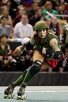Rat City Roller Girls compete  at the Key Arena in Seattle, Washington on Saturday, Jun. 18, 2011.