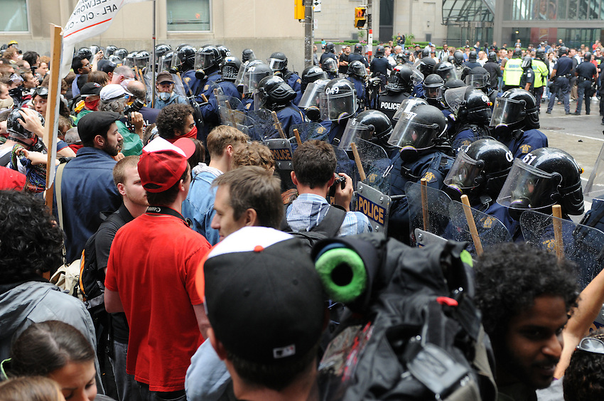 Toronto G 20 Protest Police Line Police Presence G 20 Protest Front Line, RCMP, Saturday, July 26, 2010