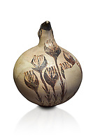 Beak spouted jug decorated with flowering crocus. Early Cycladic I (1650-1550 BC) , Phylakopi, Melos. National Archaeological Museum Athens. Cat No 5769.  White background.<br /> <br /> <br /> During this Cycladic period the pottery designs were heavily influenced by Cretean minoan with pottery like this using floral patterns.