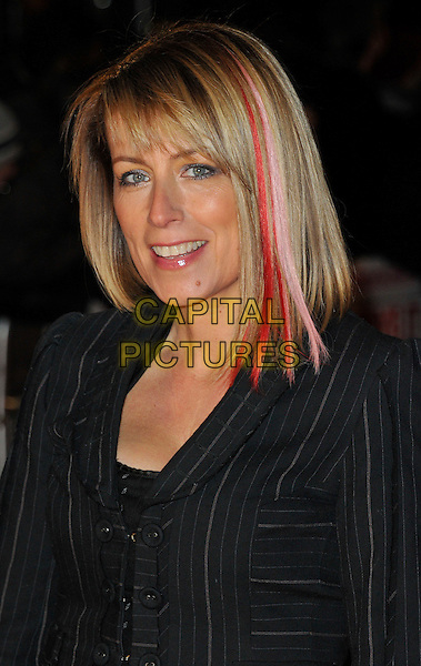 Fay Ripley .attends the UK Premiere of 'I Give It A Year', Vue West End cinema, London, England, UK, 24th January 2013..portrait headshot red streak in hair black beauty highlights dyed grey gray pinstripe striped .CAP/WIZ.© Wizard/Capital Pictures.