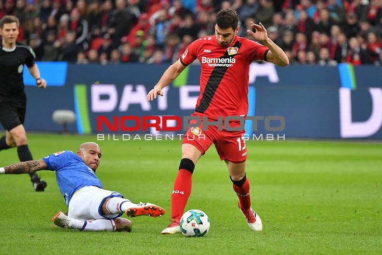28.01.2018, BayArena, Leverkusen , GER, 1.FBL., Bayer 04 Leverkusen vs. 1. FSV Mainz 05<br /> im Bild / picture shows: <br /> foul von Nigel de Jong (Mainz 05 #5), an Lucas Alario (Leverkusen #13),  <br /> <br /> <br /> Foto &copy; nordphoto / Meuter