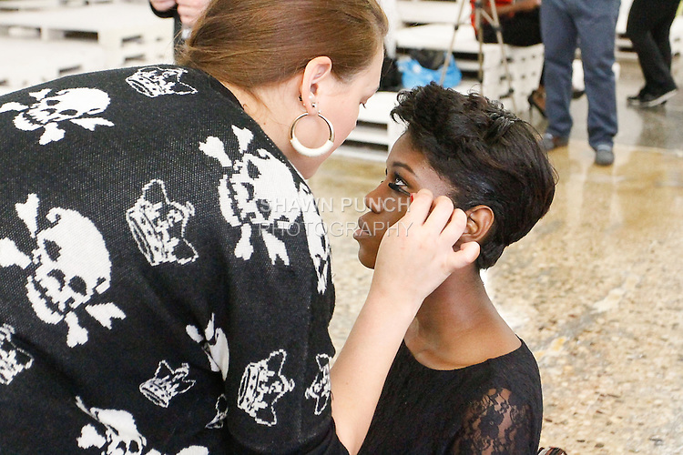 Backstage hair and makeup preperation during Fashion Week Brooklyn Spring Summer 2014, in Brooklyn, New York on October 3, 2013.