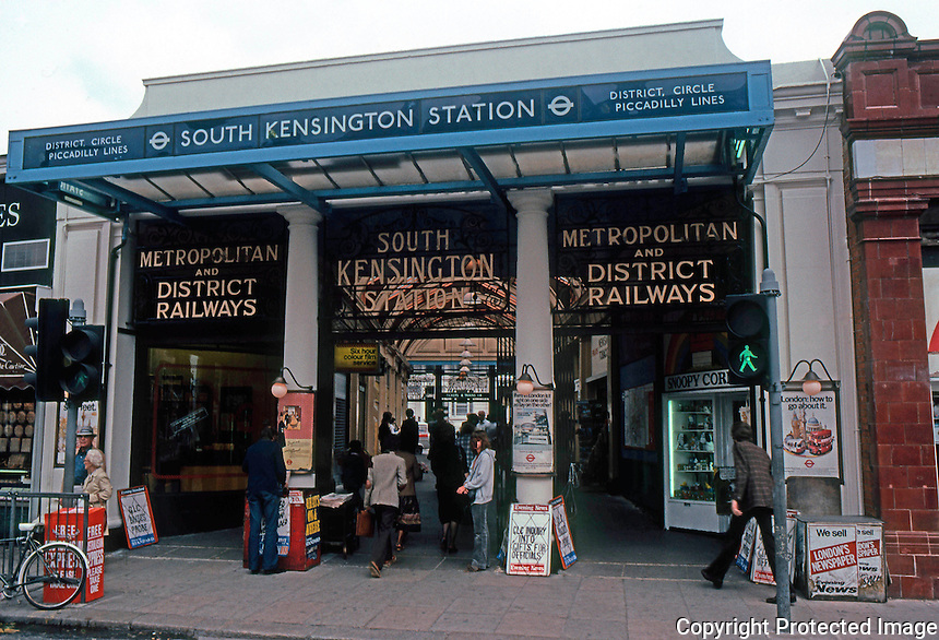 London: South Kensington Underground Station Entrance.  Photo '79.