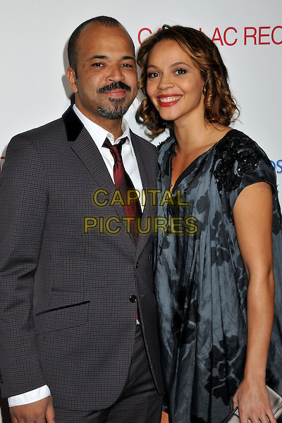 "JEFFREY WRIGHT & CARMEN EJOGO.""Cadillac Records"" Los Angeles Premiere at Grauman's Egyptian Theatre, Hollywood, California, USA..November 24th, 2008.half length married husband wife moustache mustache facial hair grey gray suit jacket dress .CAP/ADM/BP.©Byron Purvis/AdMedia/Capital Pictures."
