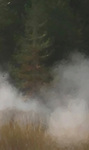 Smoke partially obscures the Yellowstone landscape.