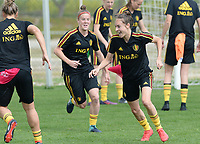20180306 - LARNACA , CYPRUS :  Belgian Tessa Wullaert (r) pictured during a Matchday -1 training from The Belgian Red Flames prior to their game against South Africa , on tuesday 6 March 2018 at the Alpha Sports Grounds in Larnaca , Cyprus . This will be the final game for Belgium during the Cyprus Womens Cup for a battle for the 5th place , a prestigious women soccer tournament as a preparation on the World Cup 2019 qualification duels. PHOTO SPORTPIX.BE | DAVID CATRY